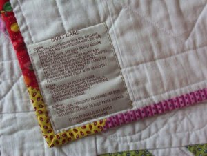 Gorges Quilt Care Label
